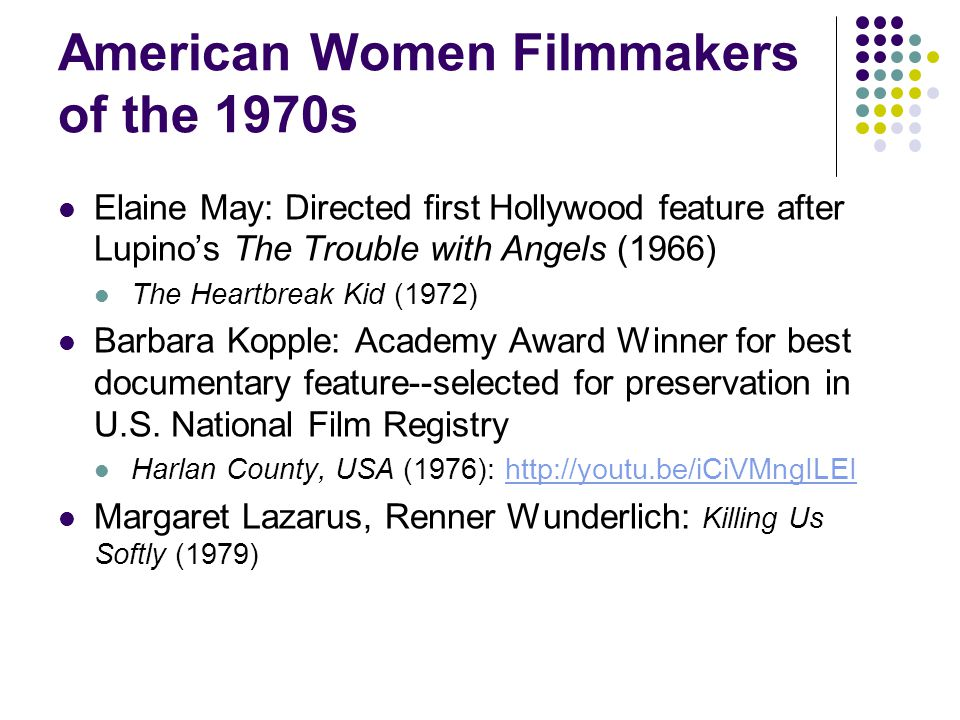 Women Filmmakers of the 1980s Connie Field, The Life and Times of Rosie the Riveter (1980) Amy Heckerling, Fast Times at Ridgemont High (1982) (Also Clueless) Susan Seidelman, Desperately Seeking Susan (1985) Agnes Varda, Vagabond (1985) Randa Haines, Children of a Lesser God (1986) Kathryn Bigelow, Near Dark (1987) I've Heard the Mermaids Singing (Patricia Rozene, 1987) Penny Marshall, Big (1988).