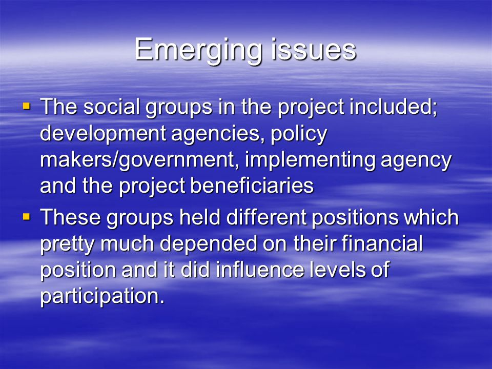 Emerging issues  The social groups in the project included; development agencies, policy makers/government, implementing agency and the project beneficiaries  These groups held different positions which pretty much depended on their financial position and it did influence levels of participation.