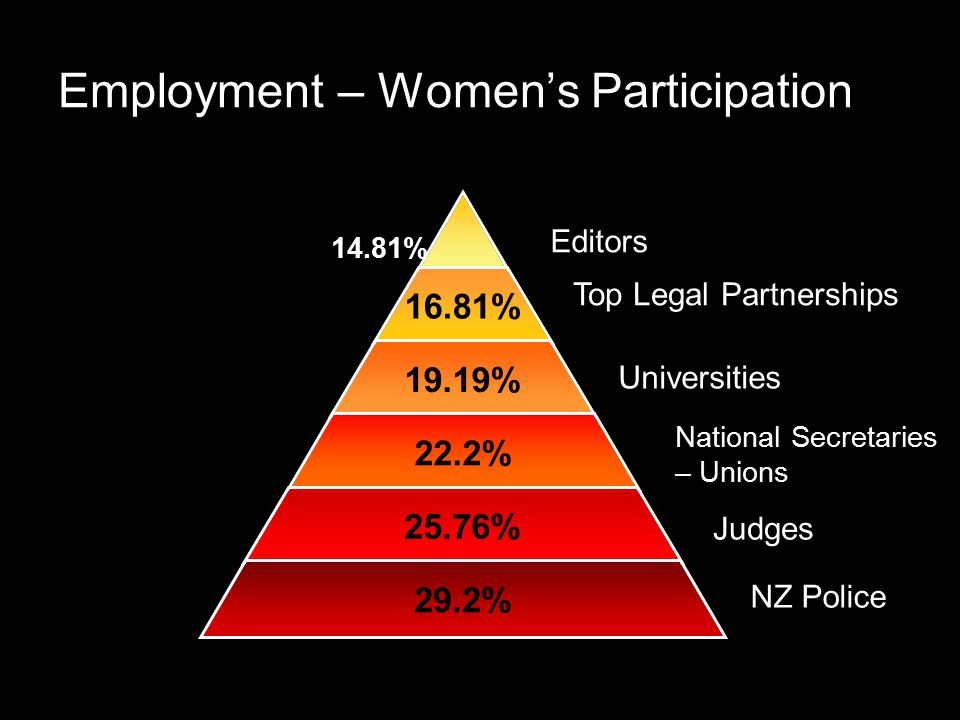 Employment – Women's Participation 16.81% 19.19% 22.2% 25.76% 29.2% Editors Top Legal Partnerships Universities National Secretaries – Unions Judges NZ Police 14.81%