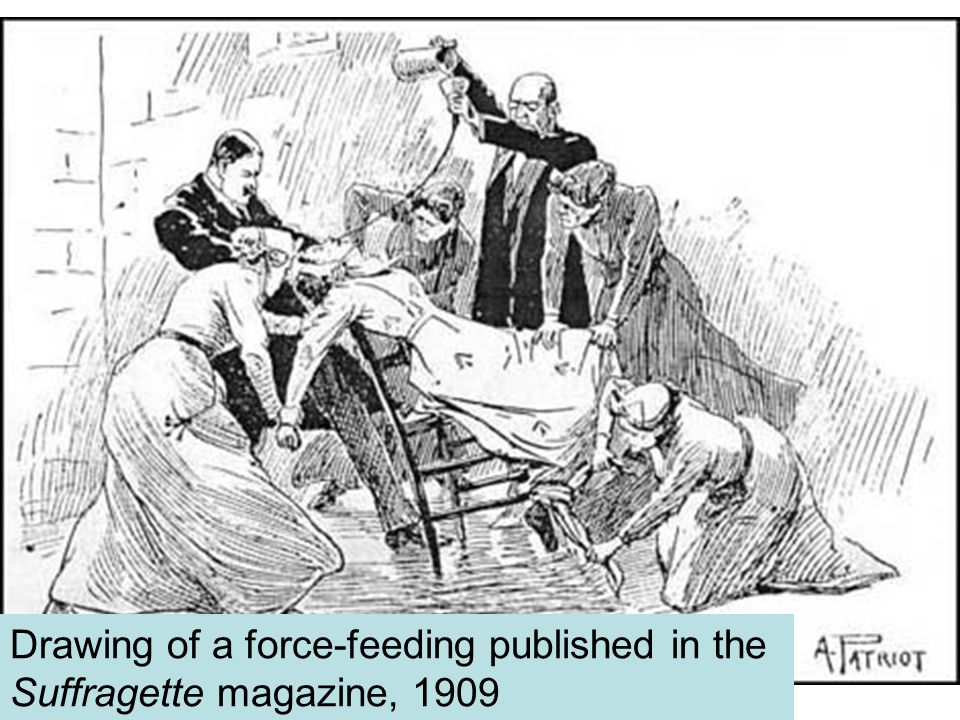s Drawing of a force-feeding published in the Suffragette magazine, 1909