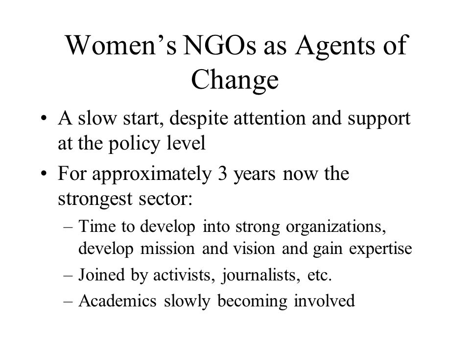 Women's NGOs as Agents of Change A slow start, despite attention and support at the policy level For approximately 3 years now the strongest sector: –Time to develop into strong organizations, develop mission and vision and gain expertise –Joined by activists, journalists, etc.
