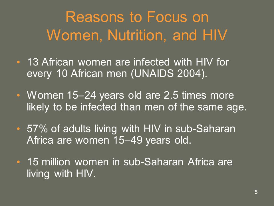 5 Reasons to Focus on Women, Nutrition, and HIV 13 African women are infected with HIV for every 10 African men (UNAIDS 2004). Women 15–24 years old a