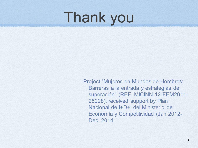 9 Thank you Project Mujeres en Mundos de Hombres: Barreras a la entrada y estrategias de superación (REF.