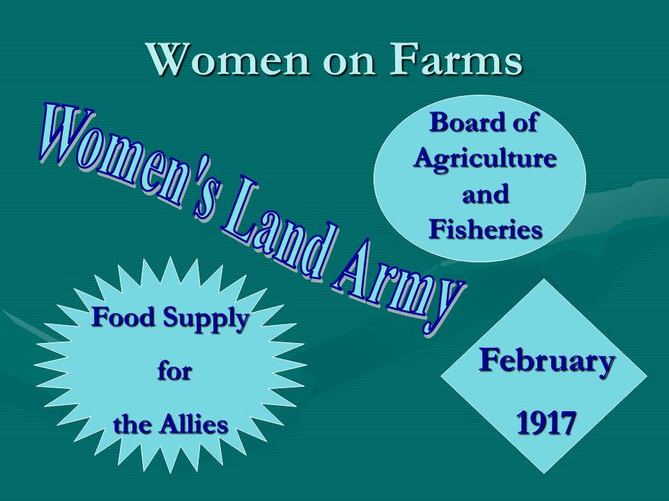 Women on Farms February1917 Board of Agriculture and Fisheries Food Supply for for the Allies