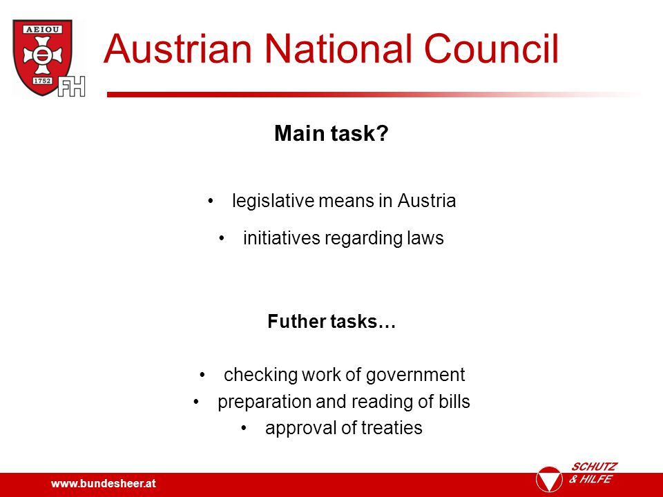 www.bundesheer.at Austrian National Council Structure.