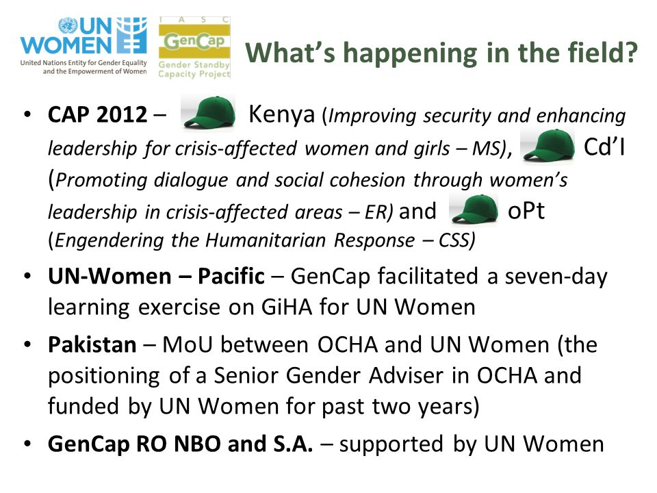 What's happening in the field? CAP 2012 – Kenya (Improving security and enhancing leadership for crisis-affected women and girls – MS), Cd'I ( Promoti