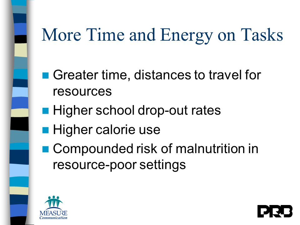 More Time and Energy on Tasks Greater time, distances to travel for resources Higher school drop-out rates Higher calorie use Compounded risk of malnutrition in resource-poor settings