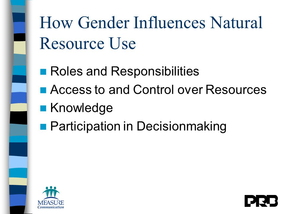 How Gender Influences Natural Resource Use Roles and Responsibilities Access to and Control over Resources Knowledge Participation in Decisionmaking