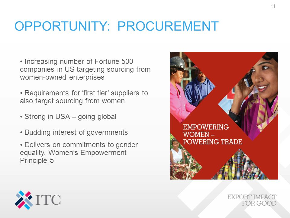 OPPORTUNITY: PROCUREMENT 11 Increasing number of Fortune 500 companies in US targeting sourcing from women-owned enterprises Requirements for 'first tier' suppliers to also target sourcing from women Strong in USA – going global Budding interest of governments Delivers on commitments to gender equality, Women's Empowerment Principle 5