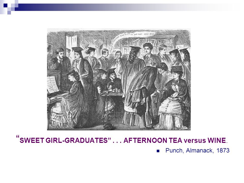 SWEET GIRL-GRADUATES ... AFTERNOON TEA versus WINE. Punch, Almanack, 1873