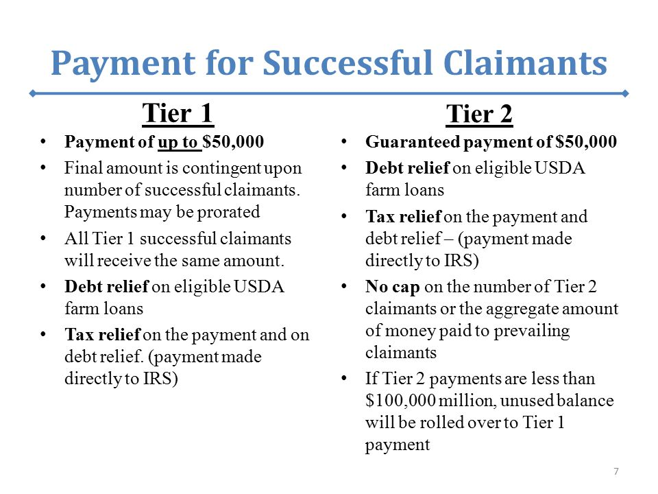 Payment for Successful Claimants Tier 1 Payment of up to $50,000 Final amount is contingent upon number of successful claimants. Payments may be prora