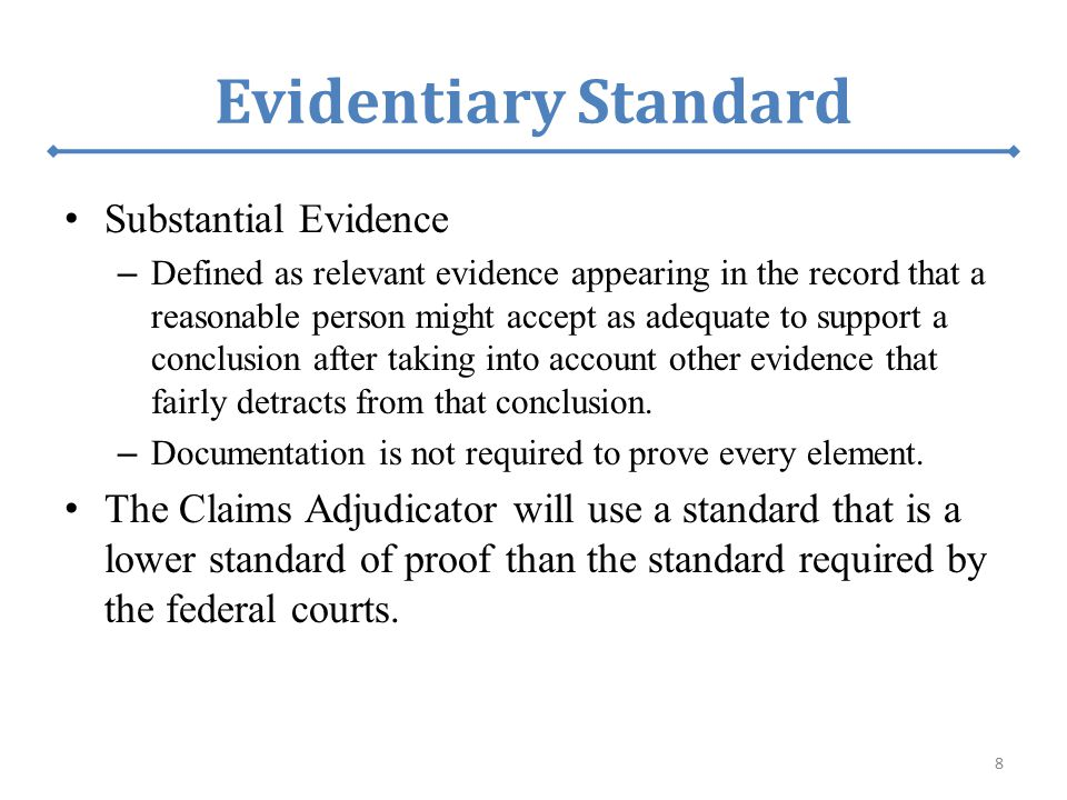 Evidentiary Standard Substantial Evidence – Defined as relevant evidence appearing in the record that a reasonable person might accept as adequate to support a conclusion after taking into account other evidence that fairly detracts from that conclusion.