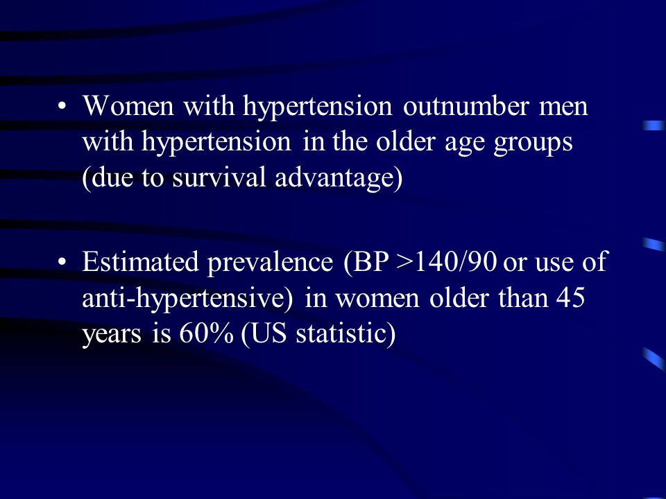 Women with hypertension outnumber men with hypertension in the older age groups (due to survival advantage) Estimated prevalence (BP >140/90 or use of