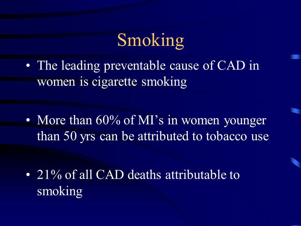 The leading preventable cause of CAD in women is cigarette smoking More than 60% of MI's in women younger than 50 yrs can be attributed to tobacco use 21% of all CAD deaths attributable to smoking