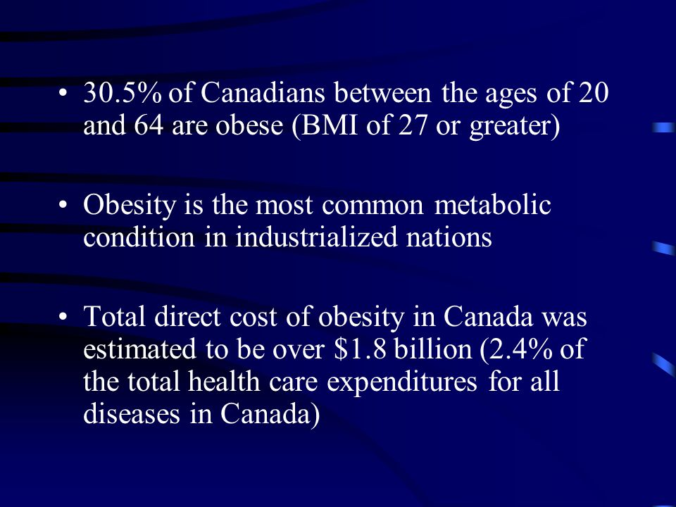 30.5% of Canadians between the ages of 20 and 64 are obese (BMI of 27 or greater) Obesity is the most common metabolic condition in industrialized nations Total direct cost of obesity in Canada was estimated to be over $1.8 billion (2.4% of the total health care expenditures for all diseases in Canada)
