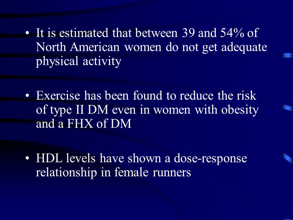 It is estimated that between 39 and 54% of North American women do not get adequate physical activity Exercise has been found to reduce the risk of ty