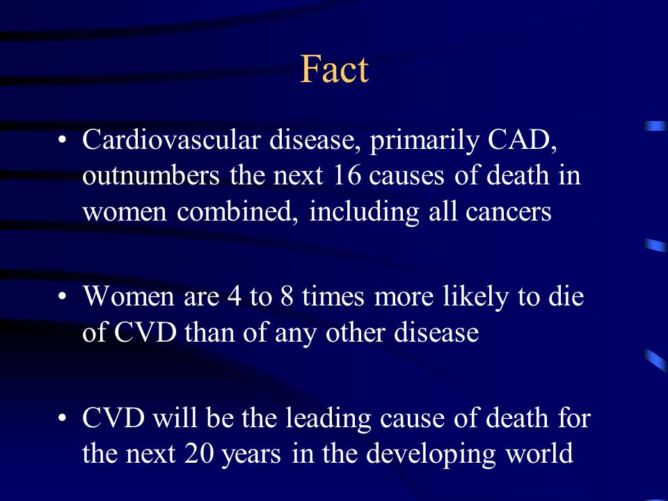 Fact Cardiovascular disease, primarily CAD, outnumbers the next 16 causes of death in women combined, including all cancers Women are 4 to 8 times more likely to die of CVD than of any other disease CVD will be the leading cause of death for the next 20 years in the developing world