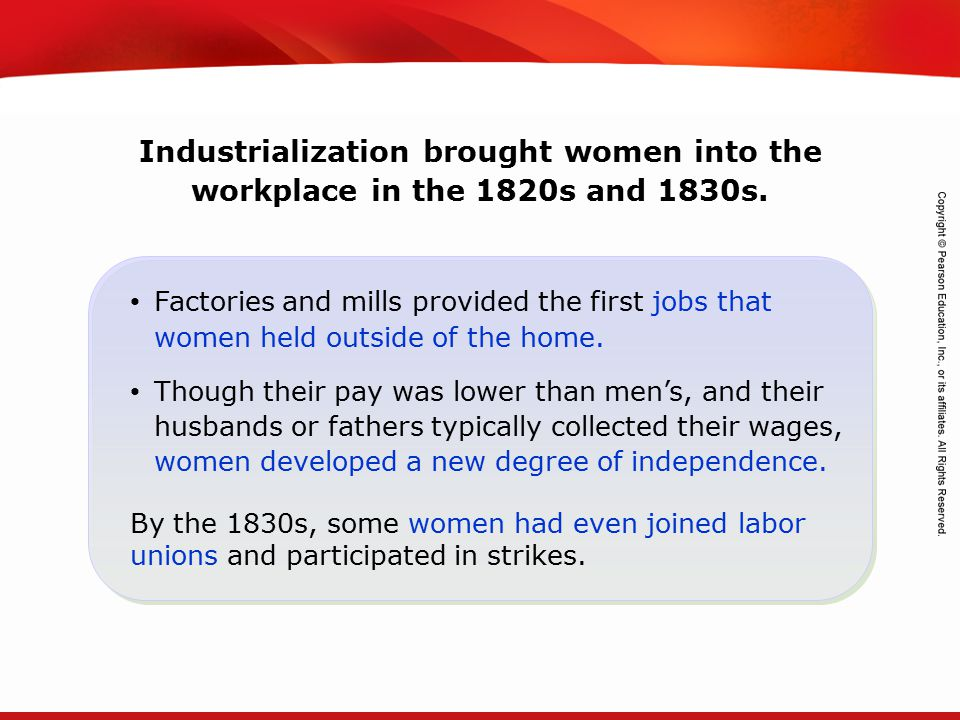 TEKS 8C: Calculate percent composition and empirical and molecular formulas. Industrialization brought women into the workplace in the 1820s and 1830s