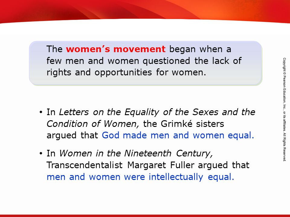 TEKS 8C: Calculate percent composition and empirical and molecular formulas. The women's movement began when a few men and women questioned the lack o