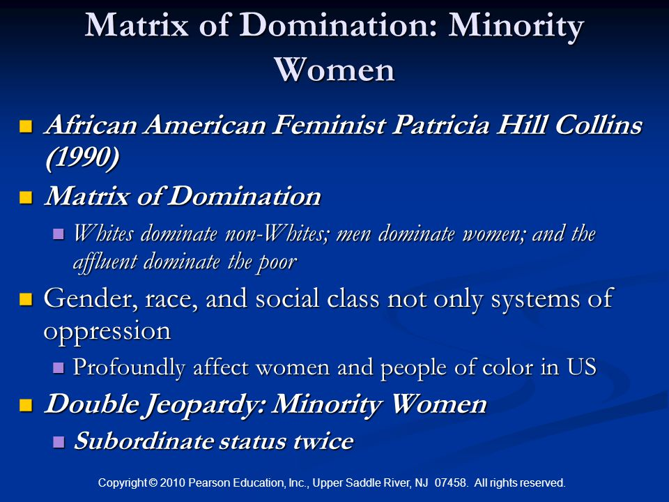 Copyright © 2010 Pearson Education, Inc., Upper Saddle River, NJ 07458. All rights reserved. Matrix of Domination: Minority Women African American Fem