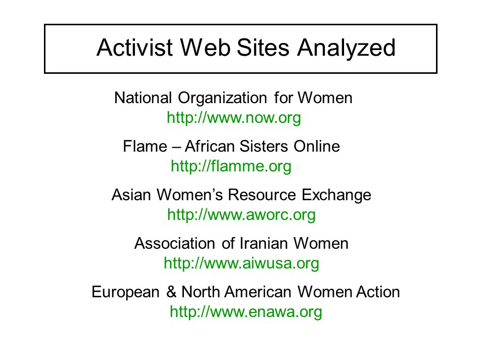 Activist Web Sites Analyzed National Organization for Women http://www.now.org Flame – African Sisters Online http://flamme.org Asian Women's Resource Exchange http://www.aworc.org Association of Iranian Women http://www.aiwusa.org European & North American Women Action http://www.enawa.org