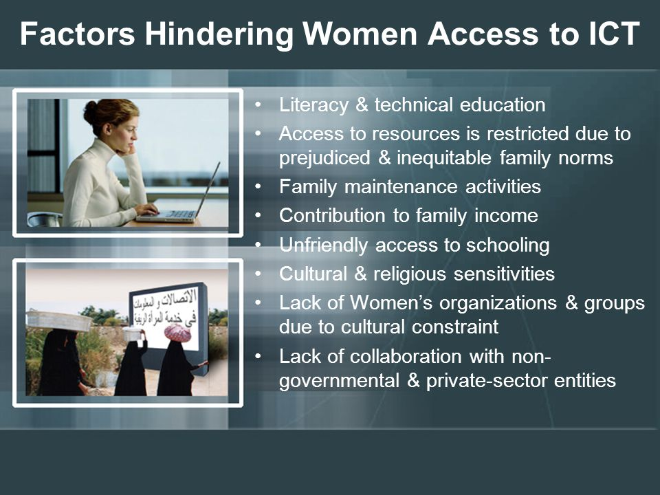 Factors Hindering Women Access to ICT Literacy & technical education Access to resources is restricted due to prejudiced & inequitable family norms Family maintenance activities Contribution to family income Unfriendly access to schooling Cultural & religious sensitivities Lack of Women's organizations & groups due to cultural constraint Lack of collaboration with non- governmental & private-sector entities