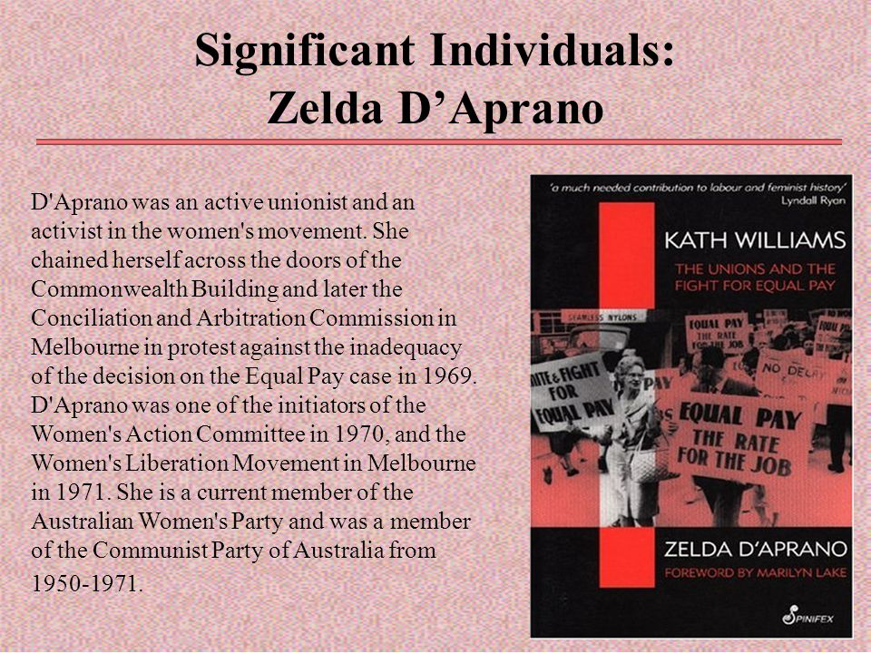 Significant Individuals: Zelda D'Aprano D'Aprano was an active unionist and an activist in the women's movement. She chained herself across the doors