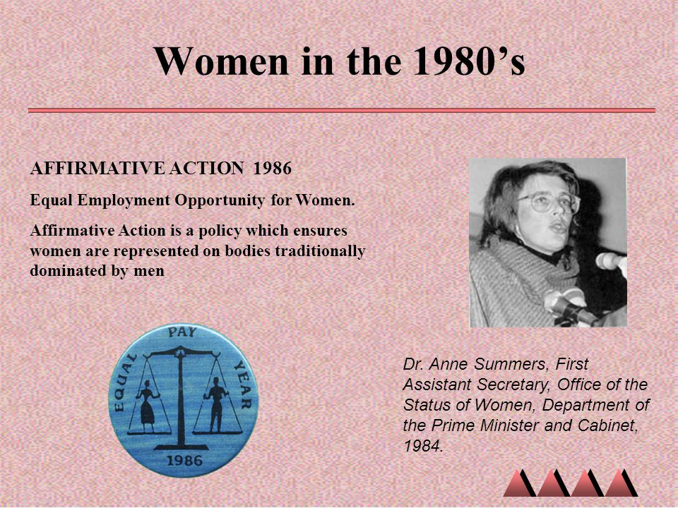 Women in the 1980's Dr. Anne Summers, First Assistant Secretary, Office of the Status of Women, Department of the Prime Minister and Cabinet, 1984. AF