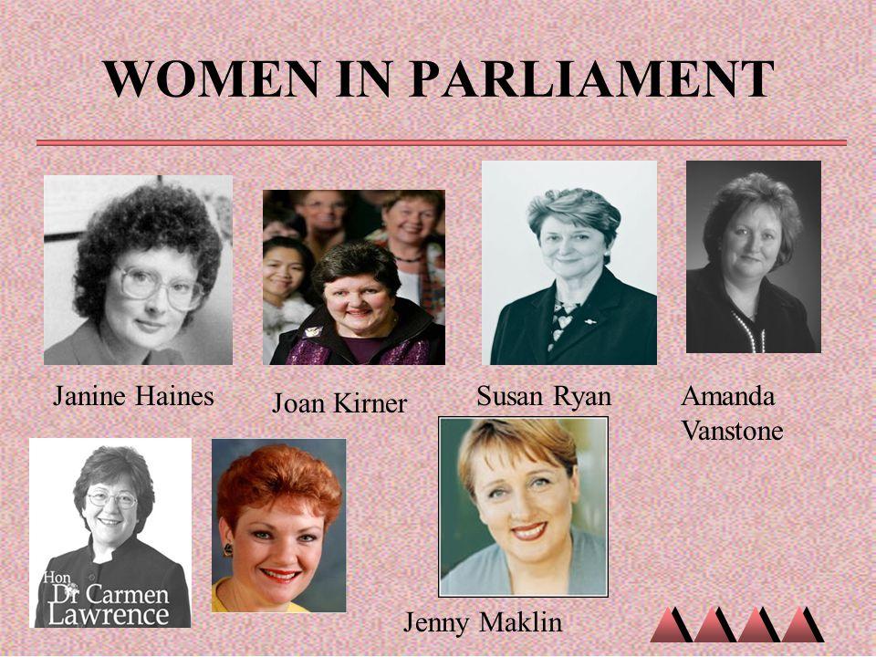 WOMEN IN PARLIAMENT Janine HainesSusan Ryan Jenny Maklin Joan Kirner Amanda Vanstone