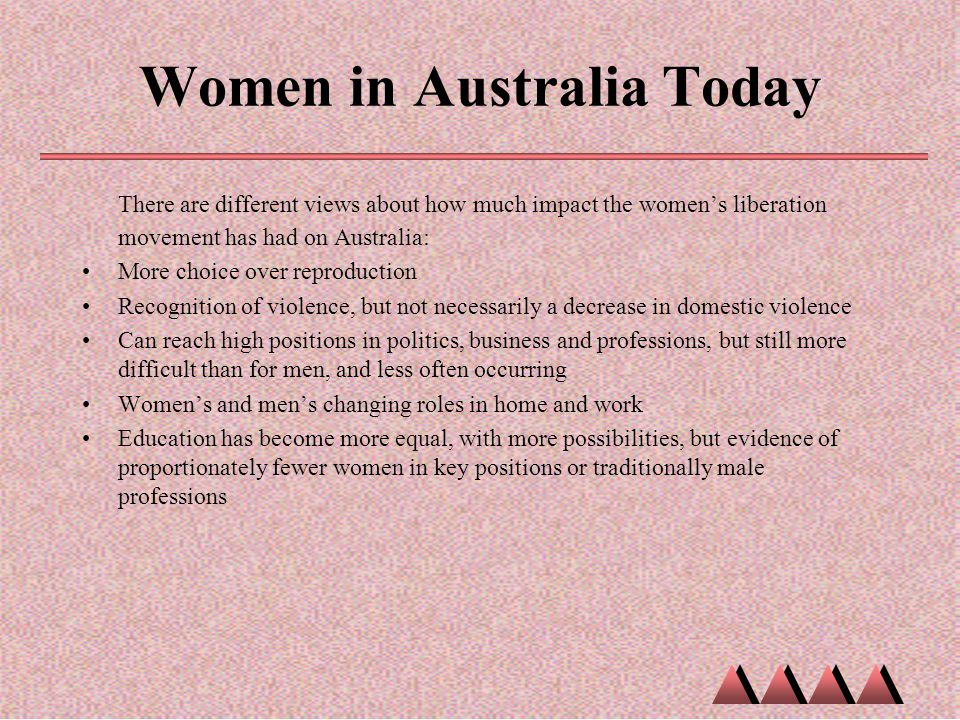 Women in Australia Today There are different views about how much impact the women's liberation movement has had on Australia: More choice over reprod