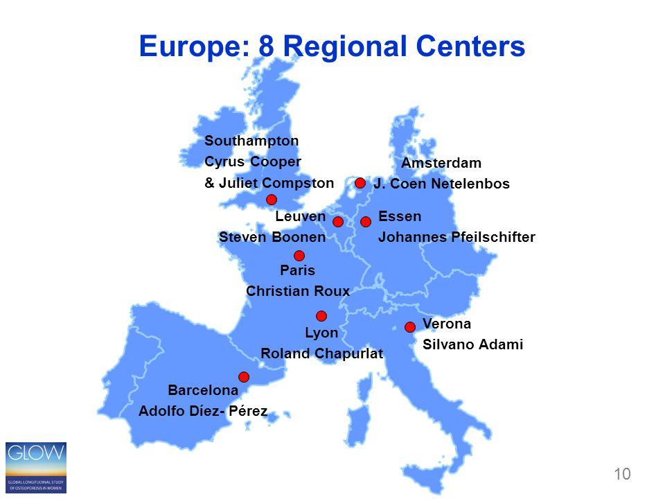 Europe: 8 Regional Centers Paris Christian Roux Lyon Roland Chapurlat Essen Johannes Pfeilschifter Southampton Cyrus Cooper & Juliet Compston Leuven Steven Boonen Amsterdam J.