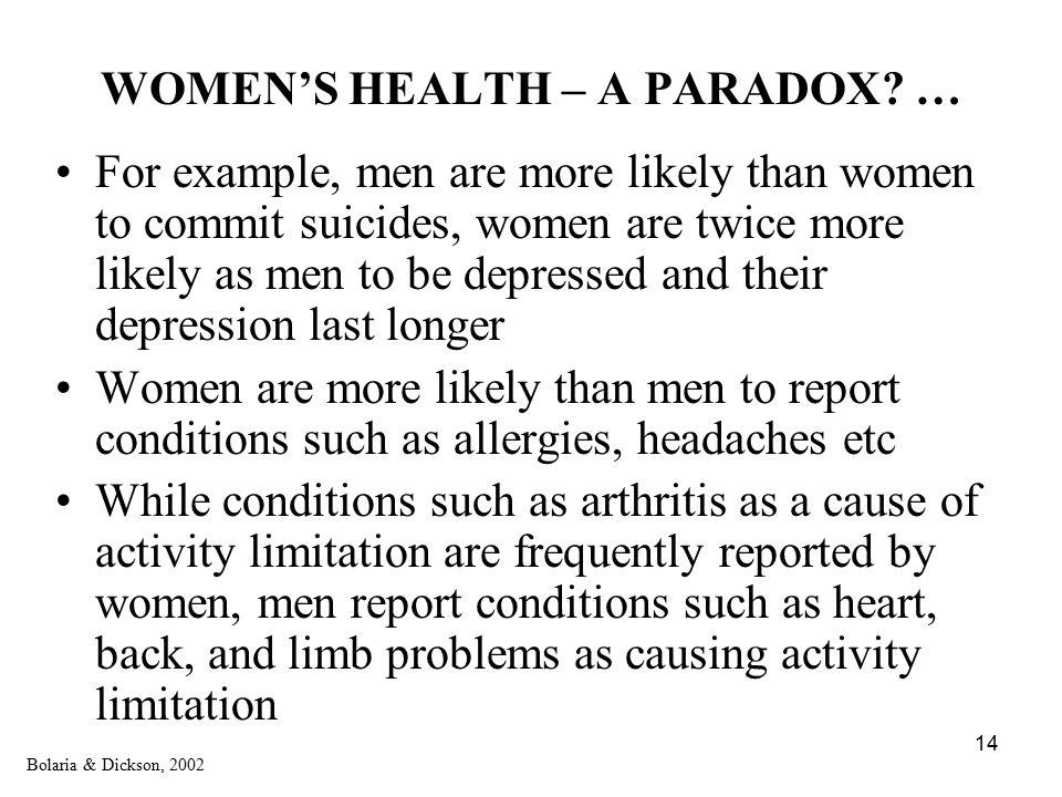 14 WOMEN'S HEALTH – A PARADOX.