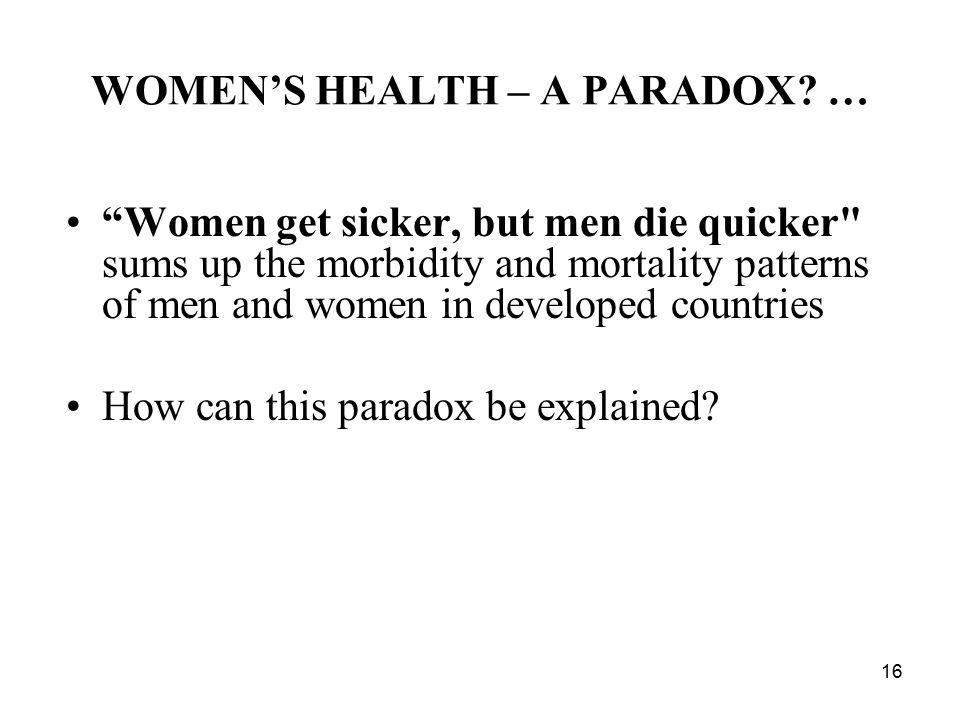 16 WOMEN'S HEALTH – A PARADOX.
