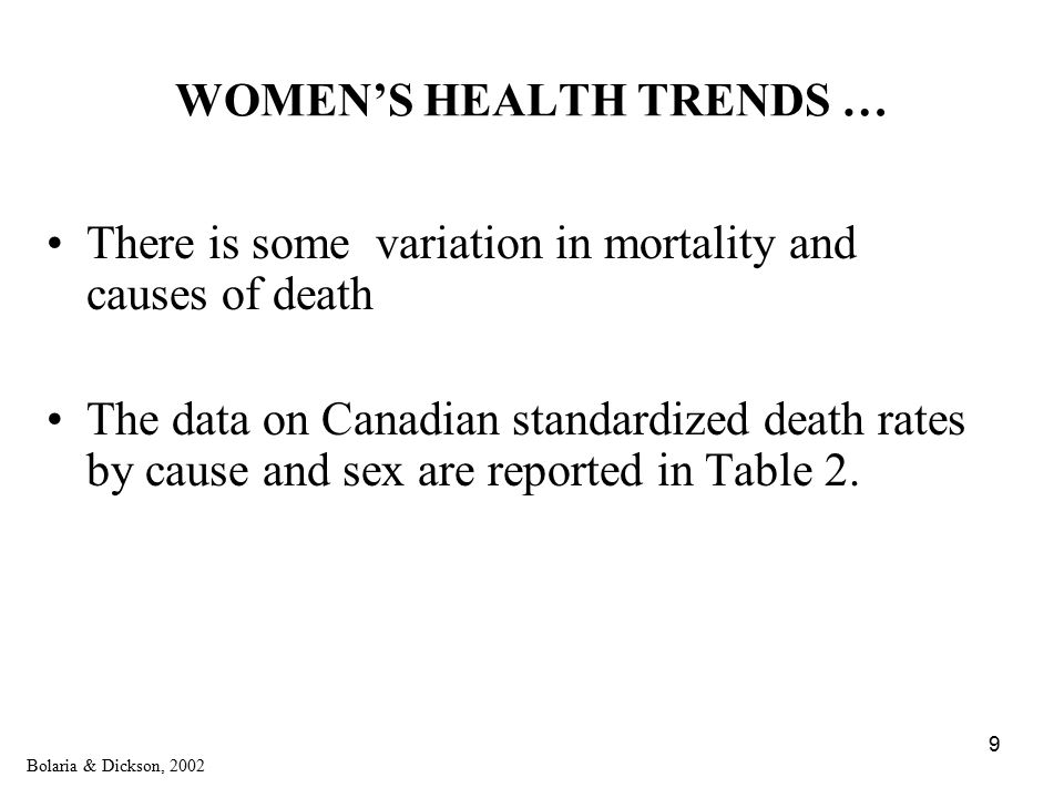 9 WOMEN'S HEALTH TRENDS … There is some variation in mortality and causes of death The data on Canadian standardized death rates by cause and sex are reported in Table 2.