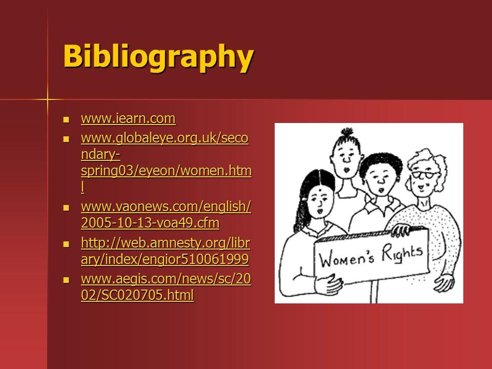Bibliography www.iearn.com www.iearn.com www.iearn.com www.globaleye.org.uk/seco ndary- spring03/eyeon/women.htm l www.globaleye.org.uk/seco ndary- sp