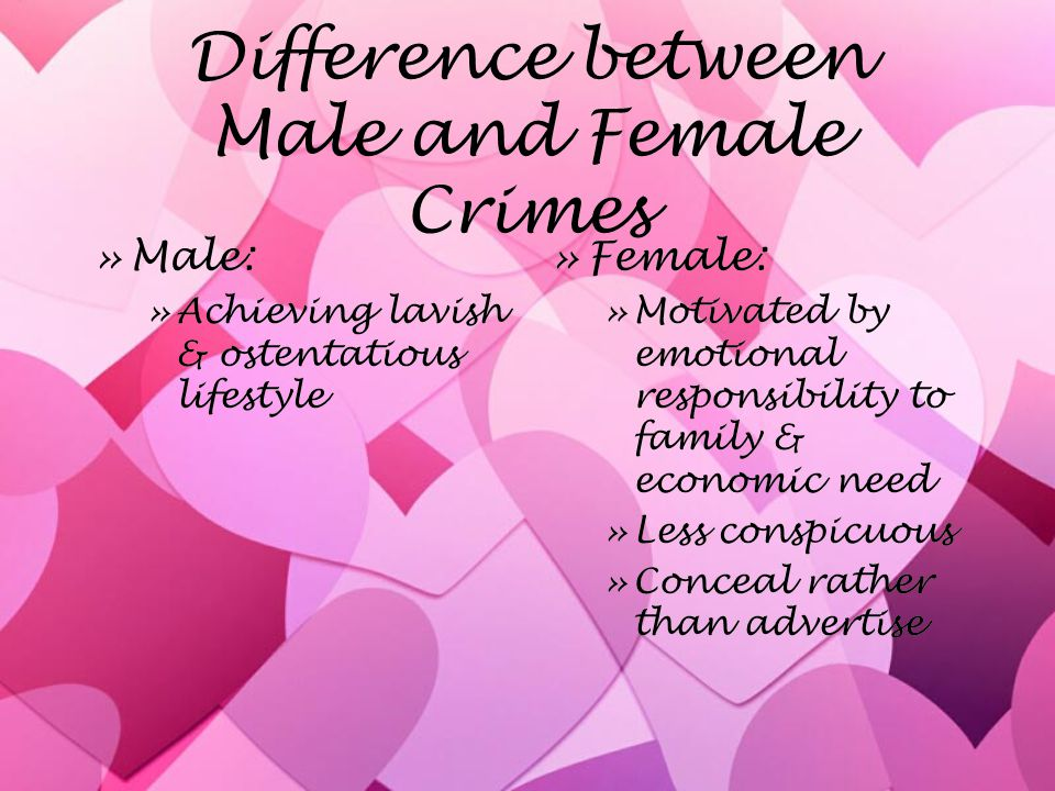 Difference between Male and Female Crimes »Male: »Achieving lavish & ostentatious lifestyle »Male: »Achieving lavish & ostentatious lifestyle »Female: