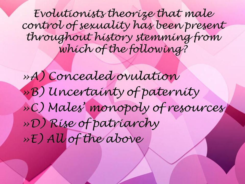 Evolutionists theorize that male control of sexuality has been present throughout history stemming from which of the following.