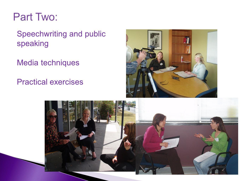 Speechwriting and public speaking Media techniques Practical exercises