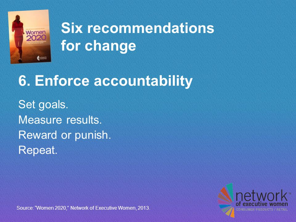 Six recommendations for change 6. Enforce accountability Set goals.