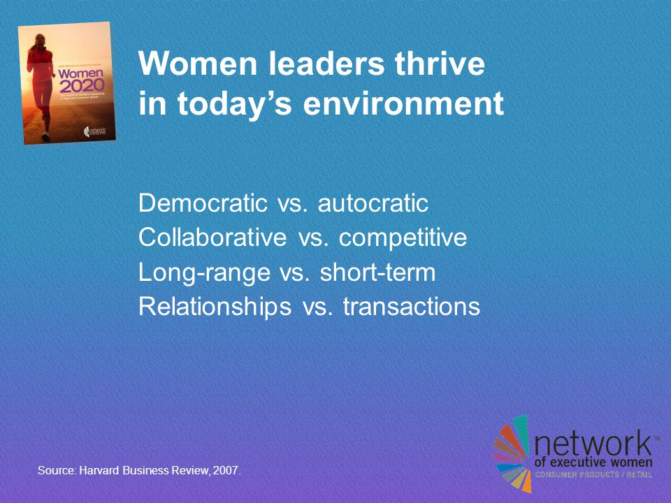 Women leaders thrive in today's environment Democratic vs.