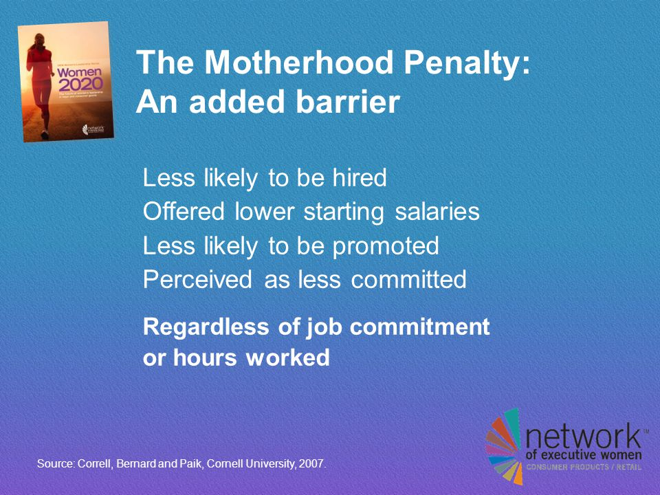 The Motherhood Penalty: An added barrier Less likely to be hired Offered lower starting salaries Less likely to be promoted Perceived as less committed Regardless of job commitment or hours worked Source: Correll, Bernard and Paik, Cornell University, 2007.