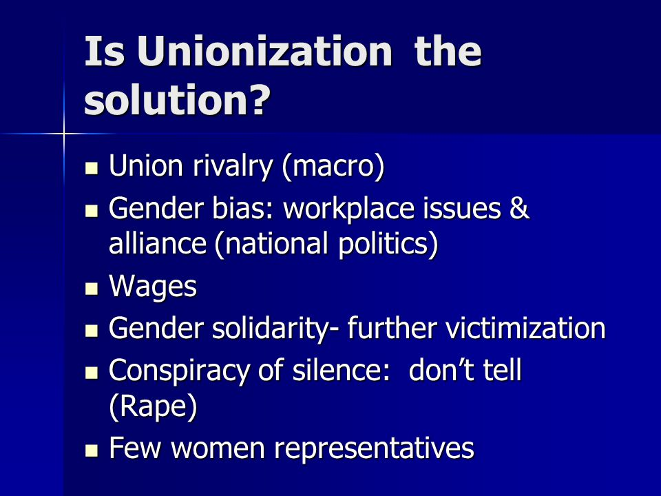 Is Unionizationthe solution.