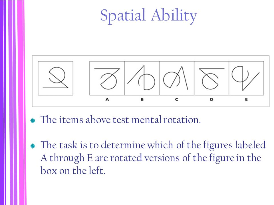 Spatial Ability The items above test mental rotation. The task is to determine which of the figures labeled A through E are rotated versions of the fi