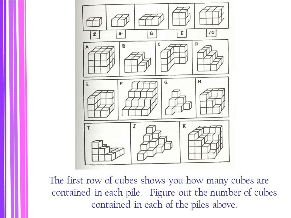 The first row of cubes shows you how many cubes are contained in each pile. Figure out the number of cubes contained in each of the piles above.