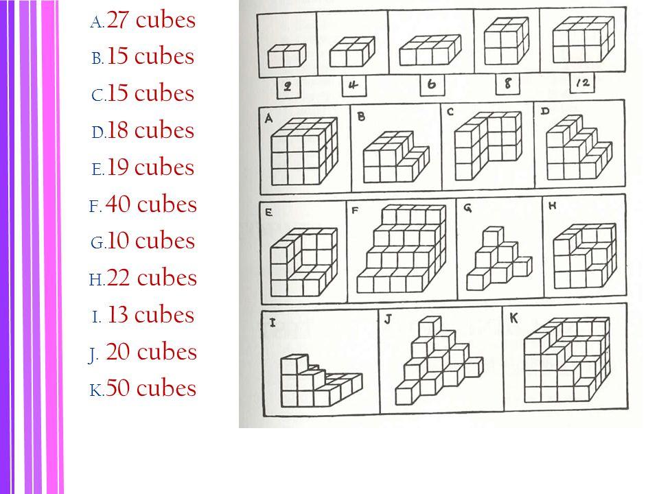 A. 27 cubes B. 15 cubes C. 15 cubes D. 18 cubes E. 19 cubes F. 40 cubes G. 10 cubes H. 22 cubes I. 13 cubes J. 20 cubes K. 50 cubes