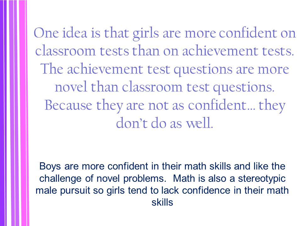 One idea is that girls are more confident on classroom tests than on achievement tests. The achievement test questions are more novel than classroom t