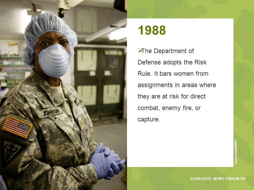 1988  The Department of Defense adopts the Risk Rule.