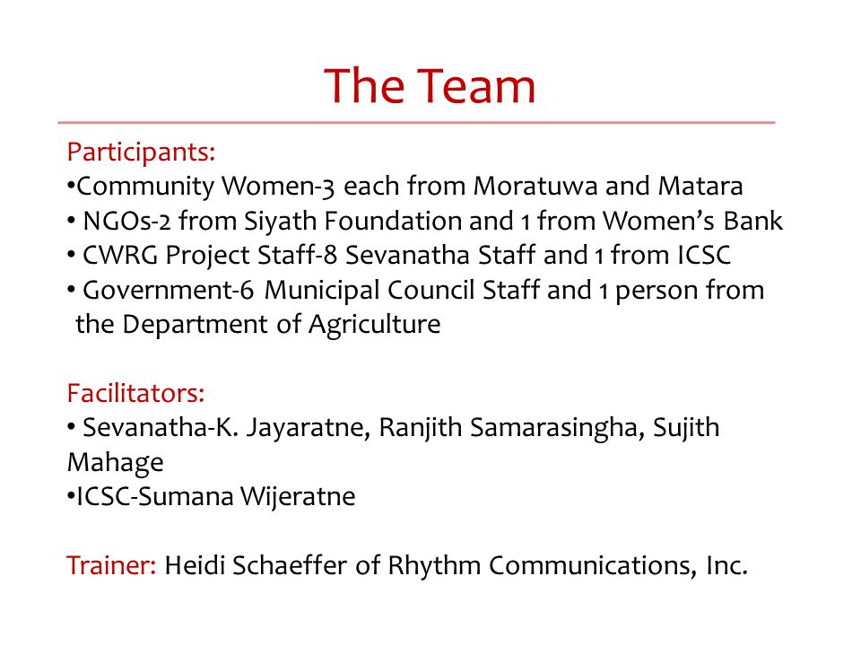 The Team Participants: Community Women-3 each from Moratuwa and Matara NGOs-2 from Siyath Foundation and 1 from Women's Bank CWRG Project Staff-8 Sevanatha Staff and 1 from ICSC Government-6 Municipal Council Staff and 1 person from the Department of Agriculture Facilitators: Sevanatha-K.
