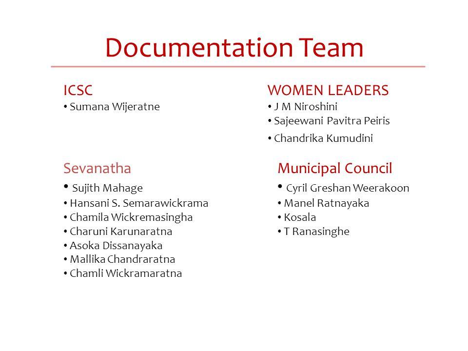 Documentation Team ICSC Sumana Wijeratne WOMEN LEADERS J M Niroshini Sajeewani Pavitra Peiris Chandrika Kumudini Sevanatha Sujith Mahage Hansani S.