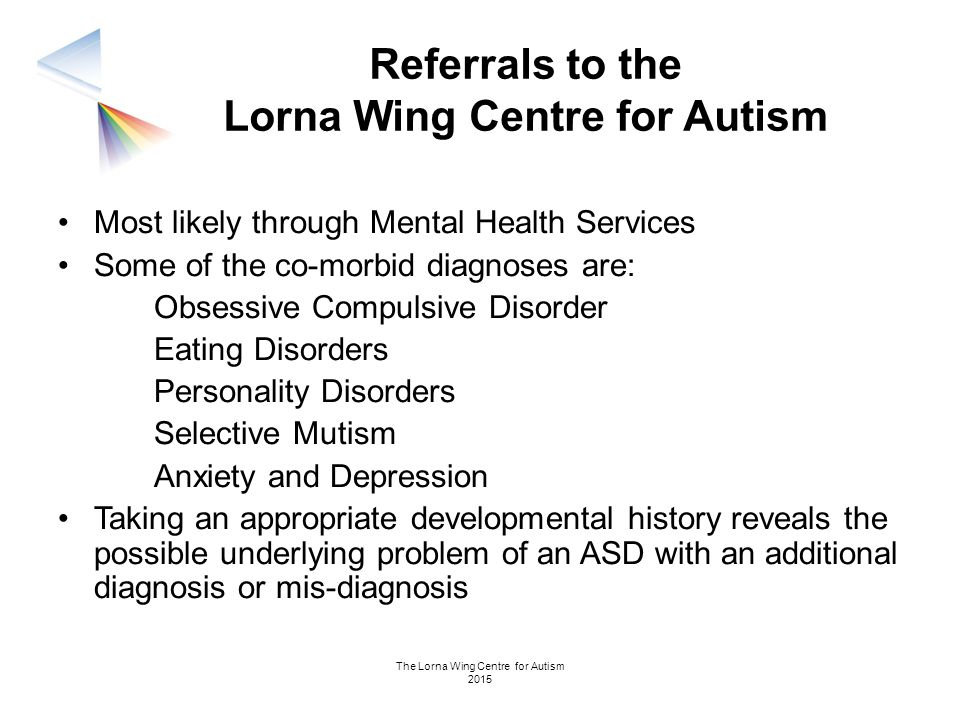 The Lorna Wing Centre for Autism 2015 Referrals to the Lorna Wing Centre for Autism Most likely through Mental Health Services Some of the co-morbid d